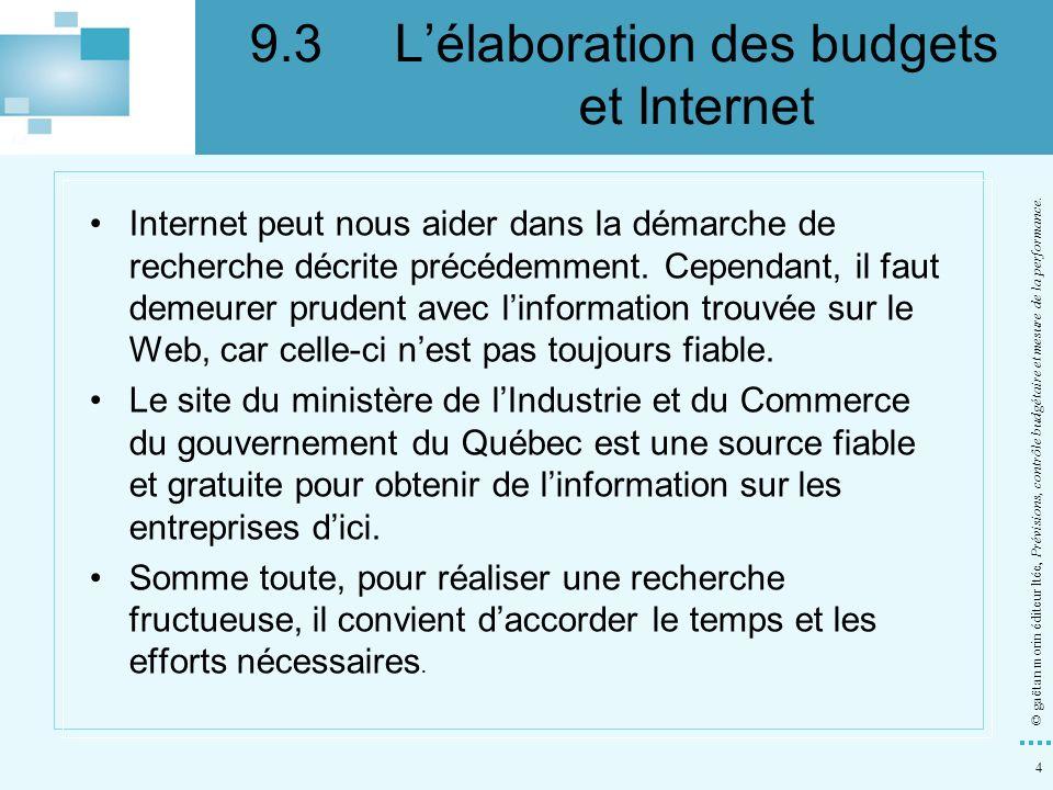 4 © gaëtan morin éditeur ltée, Prévisions, contrôle budgétaire et mesure de la performance. Internet peut nous aider dans la démarche de recherche déc