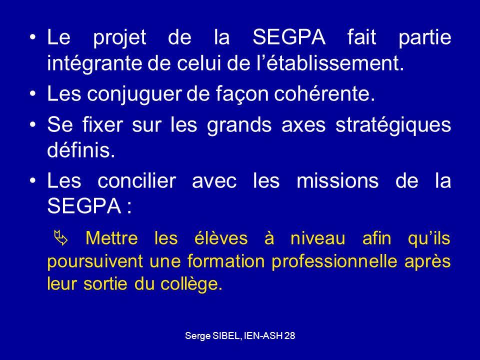 Serge SIBEL, IEN-ASH 28 Le projet de la SEGPA fait partie intégrante de celui de létablissement. Les conjuguer de façon cohérente. Se fixer sur les gr