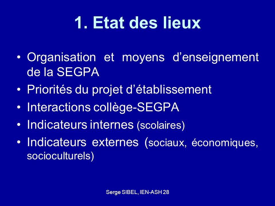 Serge SIBEL, IEN-ASH 28 1. Etat des lieux Organisation et moyens denseignement de la SEGPA Priorités du projet détablissement Interactions collège-SEG