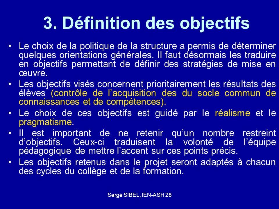 Serge SIBEL, IEN-ASH 28 3. Définition des objectifs Le choix de la politique de la structure a permis de déterminer quelques orientations générales. I
