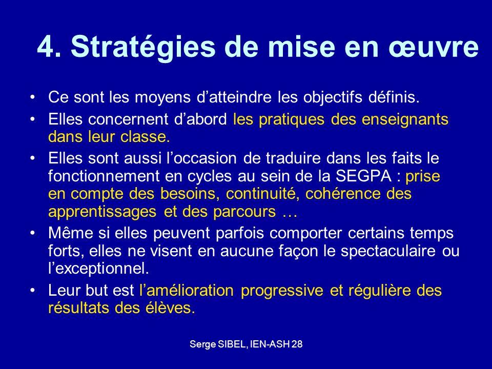 Serge SIBEL, IEN-ASH 28 4. Stratégies de mise en œuvre Ce sont les moyens datteindre les objectifs définis. Elles concernent dabord les pratiques des
