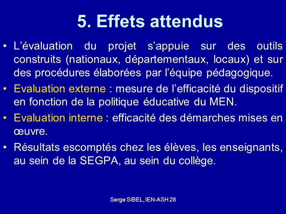 Serge SIBEL, IEN-ASH 28 5. Effets attendus Lévaluation du projet sappuie sur des outils construits (nationaux, départementaux, locaux) et sur des proc