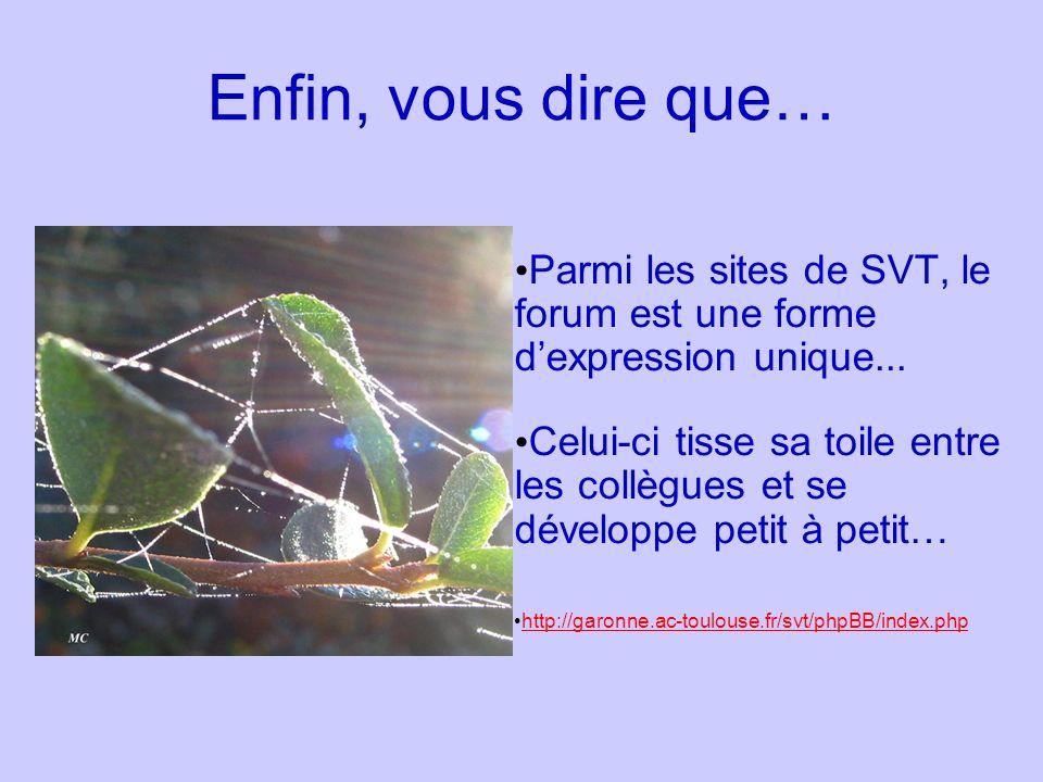Enfin, vous dire que… Parmi les sites de SVT, le forum est une forme dexpression unique... Celui-ci tisse sa toile entre les collègues et se développe