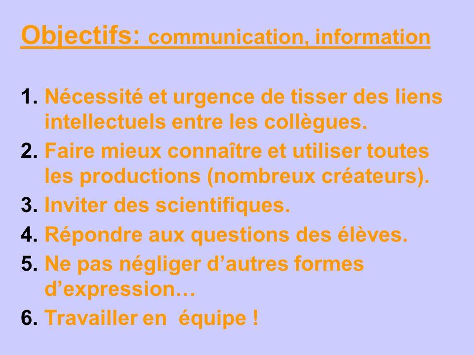 Objectifs: communication, information 1. Nécessité et urgence de tisser des liens intellectuels entre les collègues. 2. Faire mieux connaître et utili