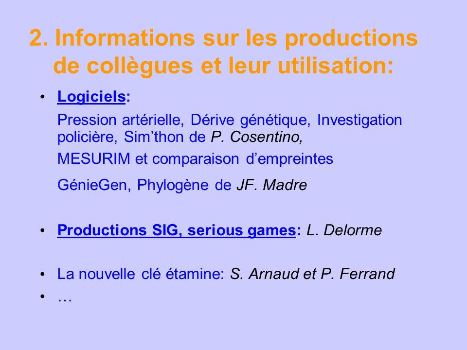 2. Informations sur les productions de collègues et leur utilisation: Logiciels: Pression artérielle, Dérive génétique, Investigation policière, Simth