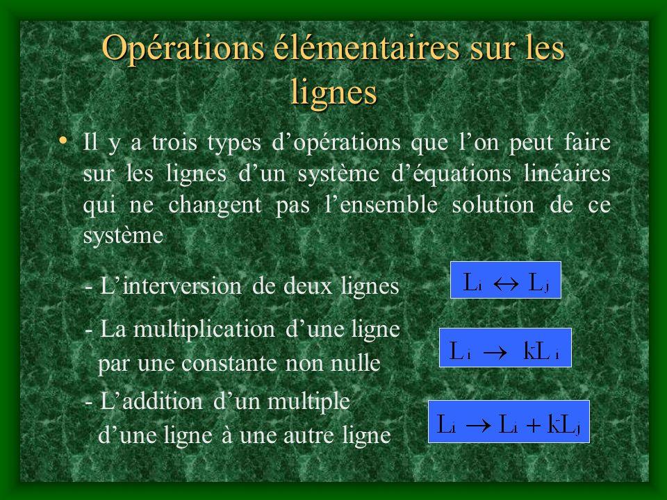 - Laddition dun multiple dune ligne à une autre ligne - La multiplication dune ligne par une constante non nulle Il y a trois types dopérations que lo