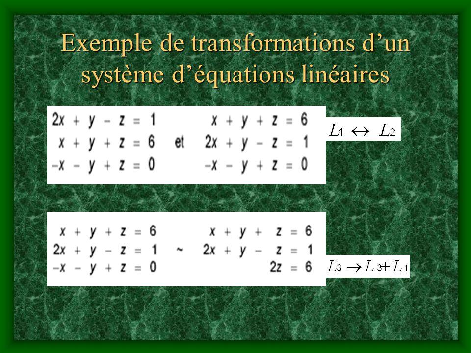 Exemple de transformations dun système déquations linéaires