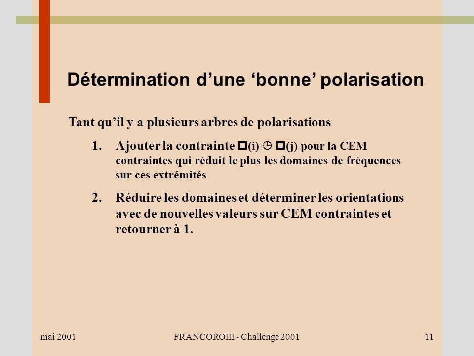 mai 2001FRANCOROIII - Challenge 200111 Détermination dune bonne polarisation Tant quil y a plusieurs arbres de polarisations 1.Ajouter la contrainte (i) (j) pour la CEM contraintes qui réduit le plus les domaines de fréquences sur ces extrémités 2.Réduire les domaines et déterminer les orientations avec de nouvelles valeurs sur CEM contraintes et retourner à 1.