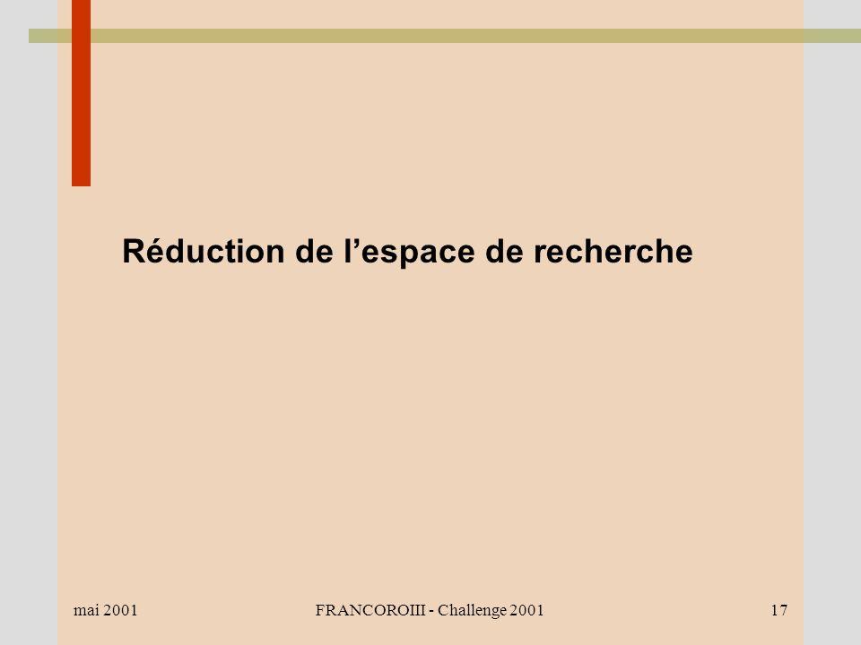 mai 2001FRANCOROIII - Challenge 200117 Réduction de lespace de recherche