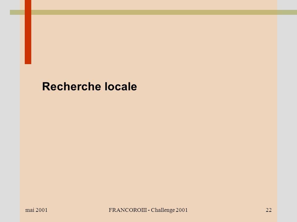 mai 2001FRANCOROIII - Challenge 200122 Recherche locale