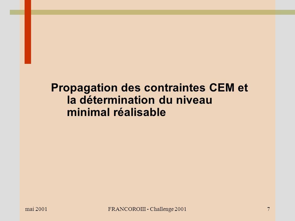mai 2001FRANCOROIII - Challenge 20017 Propagation des contraintes CEM et la détermination du niveau minimal réalisable