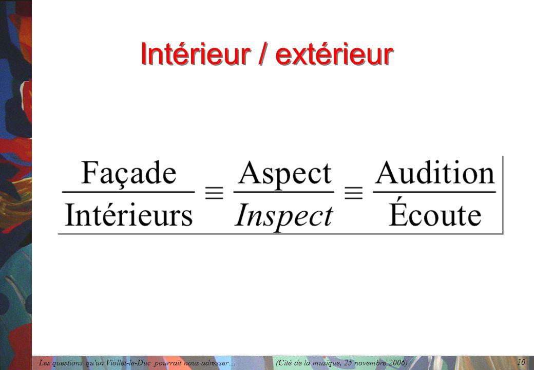 Les questions qu'un Viollet-le-Duc pourrait nous adresser… (Cité de la musique, 25 novembre 2006) 10 Intérieur / extérieur