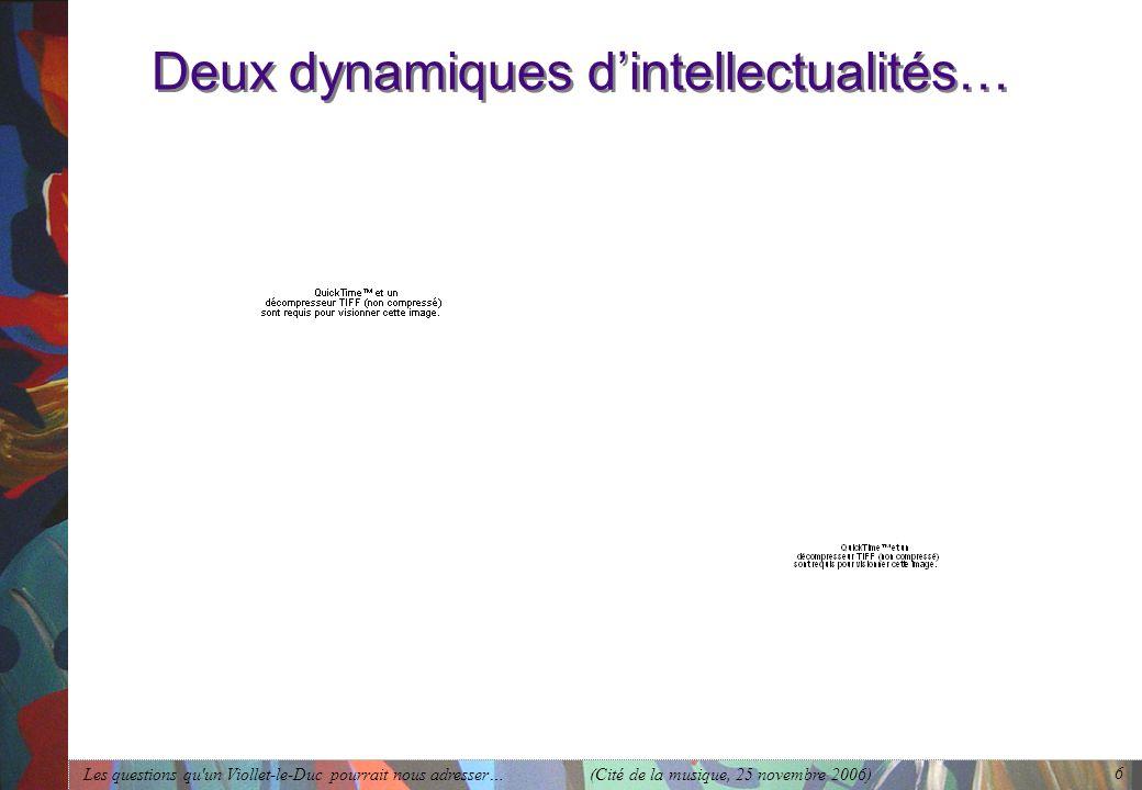 Les questions qu'un Viollet-le-Duc pourrait nous adresser… (Cité de la musique, 25 novembre 2006) 6 Deux dynamiques dintellectualités…