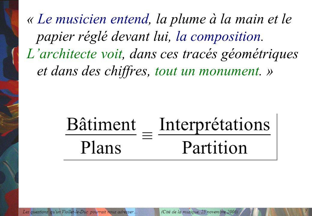 Les questions qu'un Viollet-le-Duc pourrait nous adresser… (Cité de la musique, 25 novembre 2006) 7 « Le musicien entend, la plume à la main et le pap