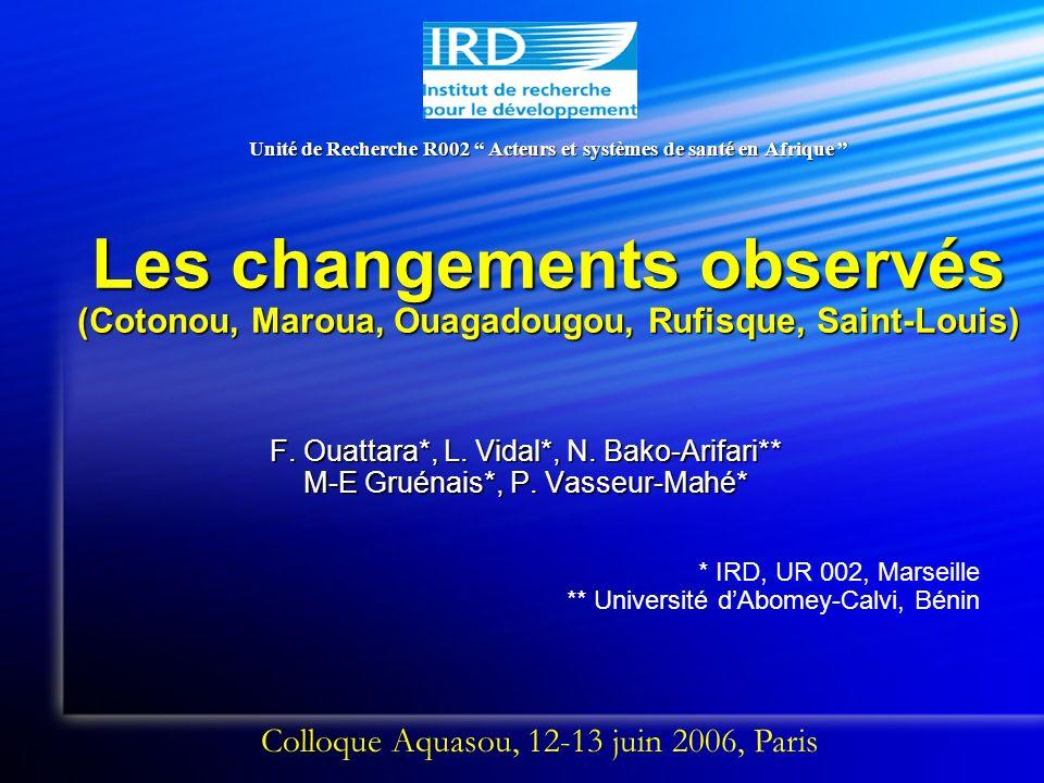Unité de Recherche R002 Acteurs et systèmes de santé en Afrique Les changements observés (Cotonou, Maroua, Ouagadougou, Rufisque, Saint-Louis) F.