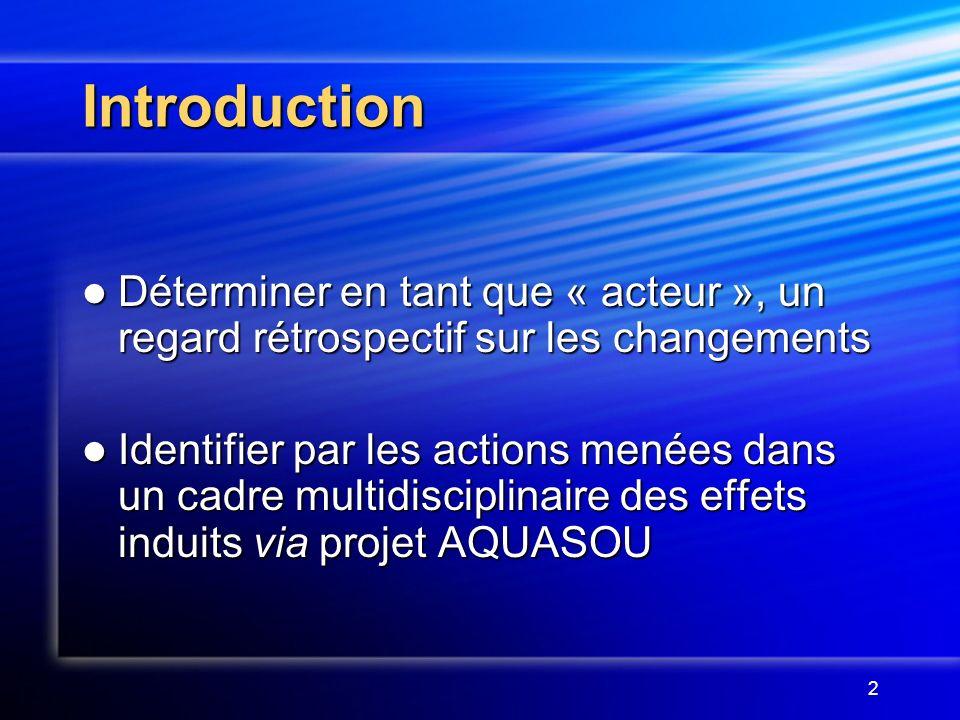2 Introduction Déterminer en tant que « acteur », un regard rétrospectif sur les changements Déterminer en tant que « acteur », un regard rétrospectif sur les changements Identifier par les actions menées dans un cadre multidisciplinaire des effets induits via projet AQUASOU Identifier par les actions menées dans un cadre multidisciplinaire des effets induits via projet AQUASOU