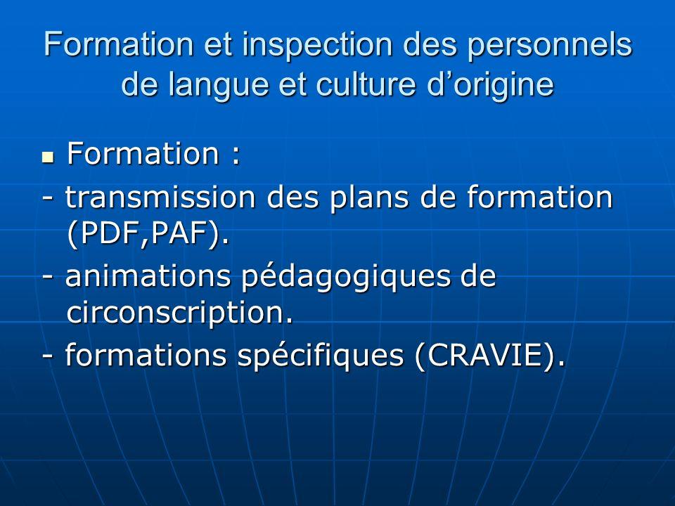 Formation et inspection des personnels de langue et culture dorigine Formation : Formation : - transmission des plans de formation (PDF,PAF).