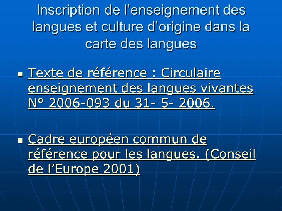 Inscription de lenseignement des langues et culture dorigine dans la carte des langues Texte de référence : Circulaire enseignement des langues vivantes N° 2006-093 du 31- 5- 2006.