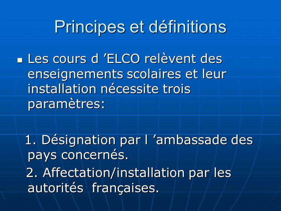 Principes et définitions Les cours d ELCO relèvent des enseignements scolaires et leur installation nécessite trois paramètres: Les cours d ELCO relèvent des enseignements scolaires et leur installation nécessite trois paramètres: 1.
