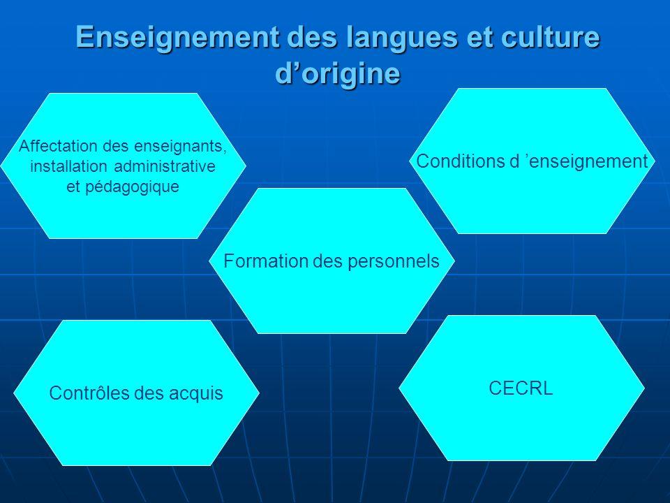 Affectation des enseignants Affectation des enseignants et installation administrative et pédagogique par les autorités françaises des enseignants de langues et culture dorigine.