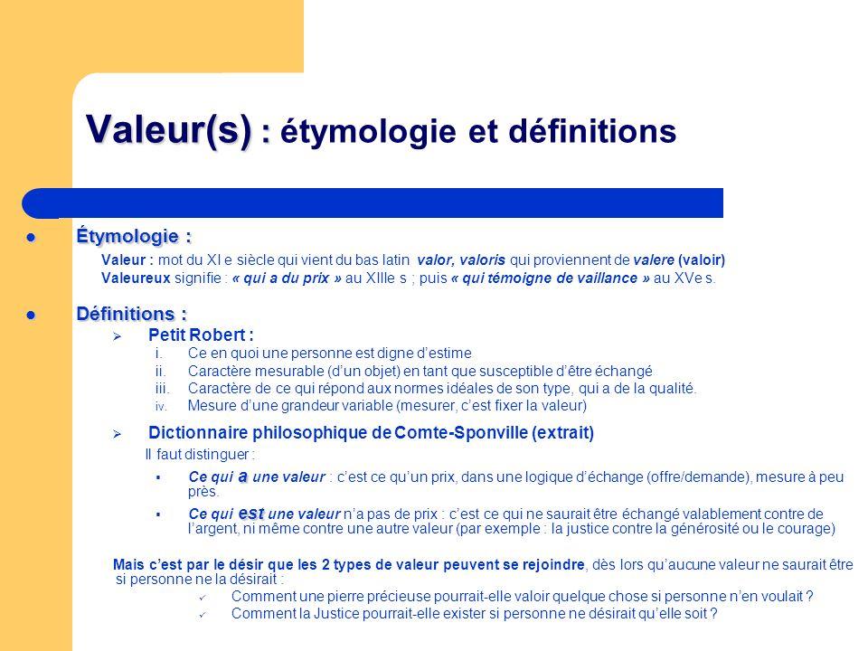 Valeur(s) : Valeur(s) : étymologie et définitions Étymologie : Étymologie : Valeur : mot du XI e siècle qui vient du bas latin valor, valoris qui prov