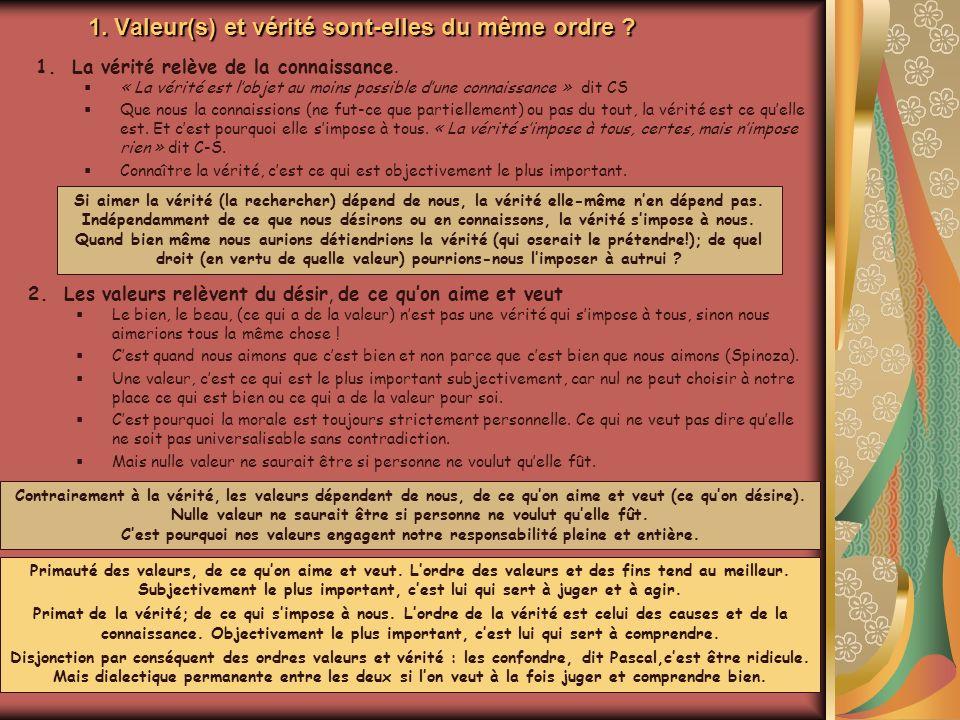 1. Valeur(s) et vérité sont-elles du même ordre ? 1.La vérité relève de la connaissance. « La vérité est lobjet au moins possible dune connaissance »
