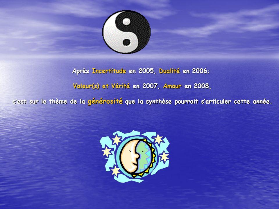 Après Incertitude en 2005, Dualité en 2006; Valeur(s) et Vérité en 2007, Amour en 2008, Valeur(s) et Vérité en 2007, Amour en 2008, cest sur le thème