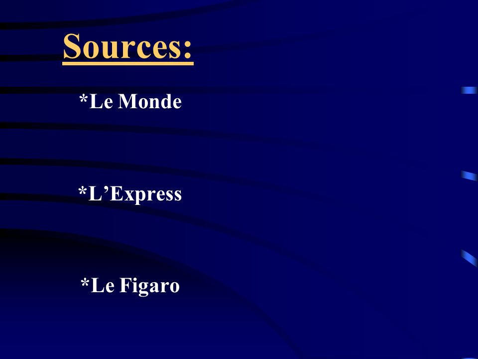 Sources: *Le Monde *LExpress *Le Figaro