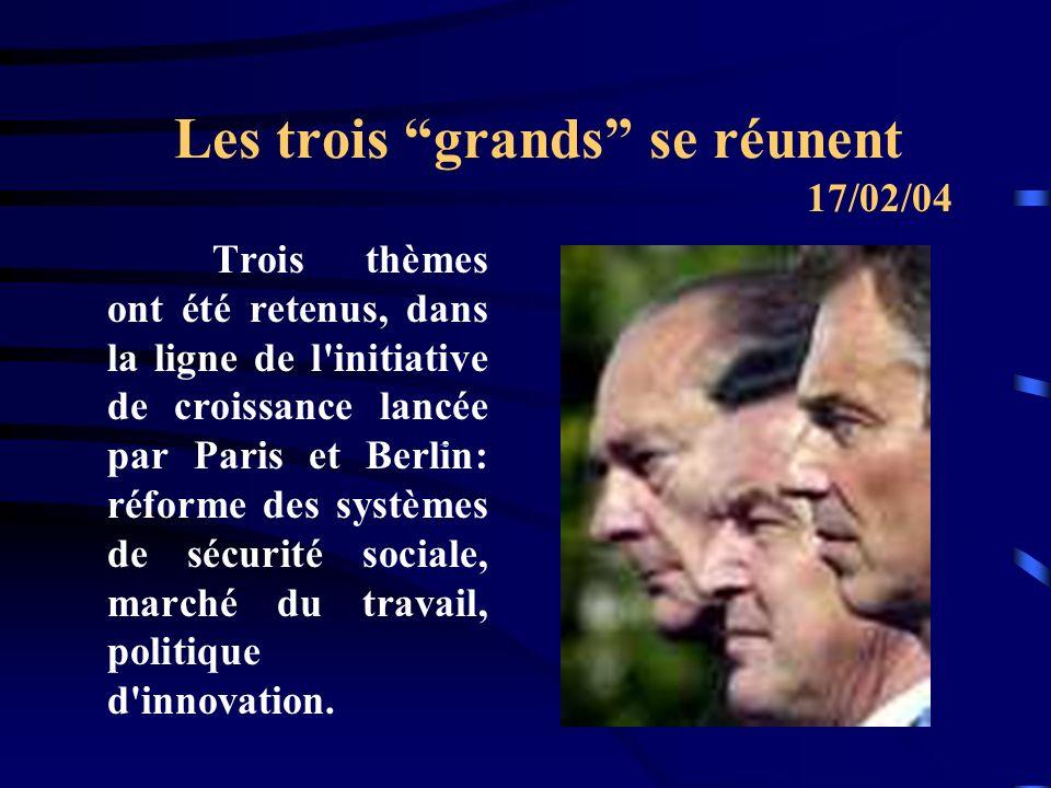 Les trois grands se réunent Trois thèmes ont été retenus, dans la ligne de l initiative de croissance lancée par Paris et Berlin: réforme des systèmes de sécurité sociale, marché du travail, politique d innovation.