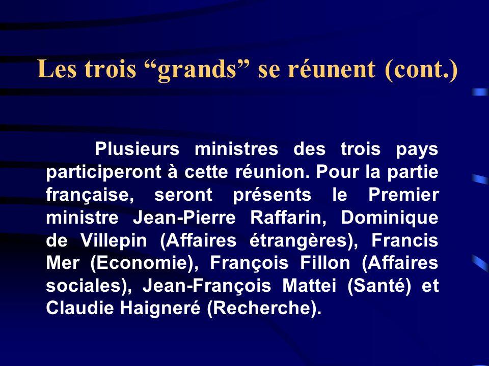 Les trois grands se réunent (cont.) Plusieurs ministres des trois pays participeront à cette réunion. Pour la partie française, seront présents le Pre