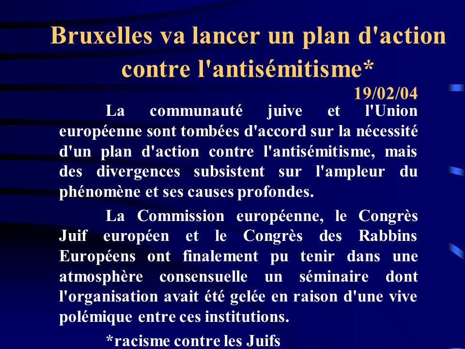 Bruxelles va lancer un plan d action contre l antisémitisme* La communauté juive et l Union européenne sont tombées d accord sur la nécessité d un plan d action contre l antisémitisme, mais des divergences subsistent sur l ampleur du phénomène et ses causes profondes.