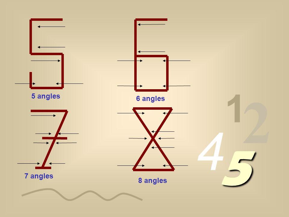 1 2 4 5 1 angle 2 angles 3 angles 4 angles