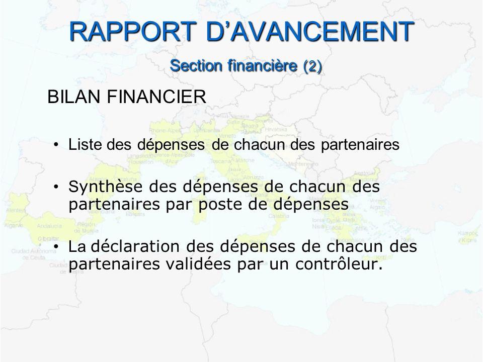 RAPPORT DAVANCEMENT Section financière ( 2 ) BILAN FINANCIER Liste des dépenses de chacun des partenairesListe des dépenses de chacun des partenaires S ynthèse des dépenses de chacun des partenaires par poste de dépensesS ynthèse des dépenses de chacun des partenaires par poste de dépenses La déclaration des dépenses de chacun des partenaires validées par un contrôleur.La déclaration des dépenses de chacun des partenaires validées par un contrôleur.