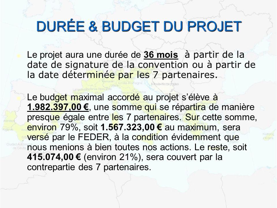 DURÉE & BUDGET DU PROJET Le projet aura une durée de 36 mois à partir de la date de signature de la convention ou à partir de la date déterminée par les 7 partenaires.
