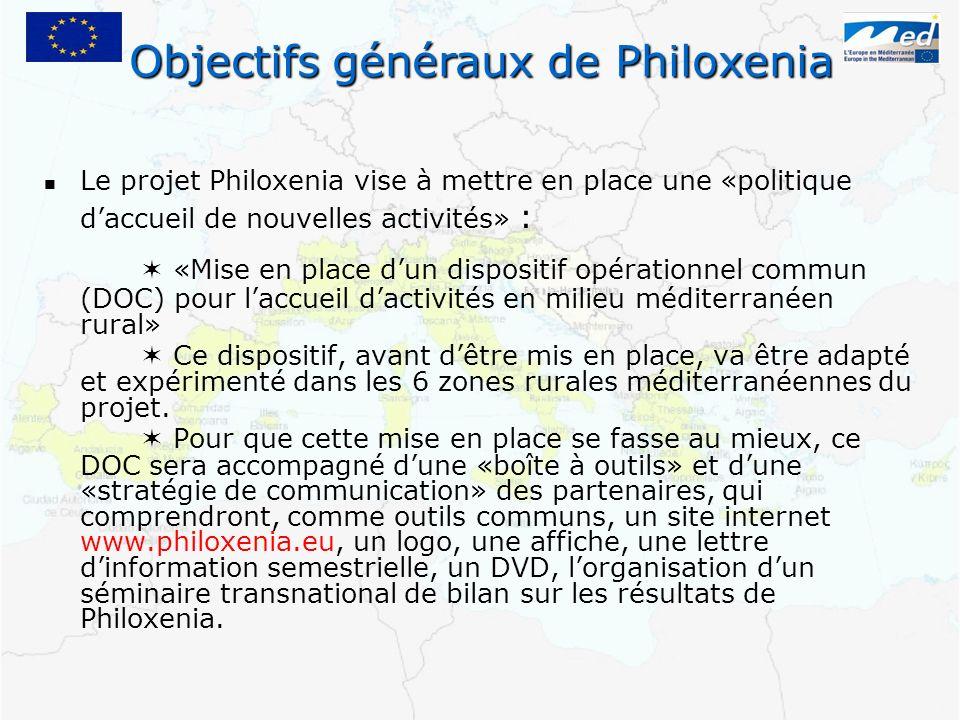 Le projet Philoxenia vise à mettre en place une «politique daccueil de nouvelles activités» : «Mise en place dun dispositif opérationnel commun (DOC)