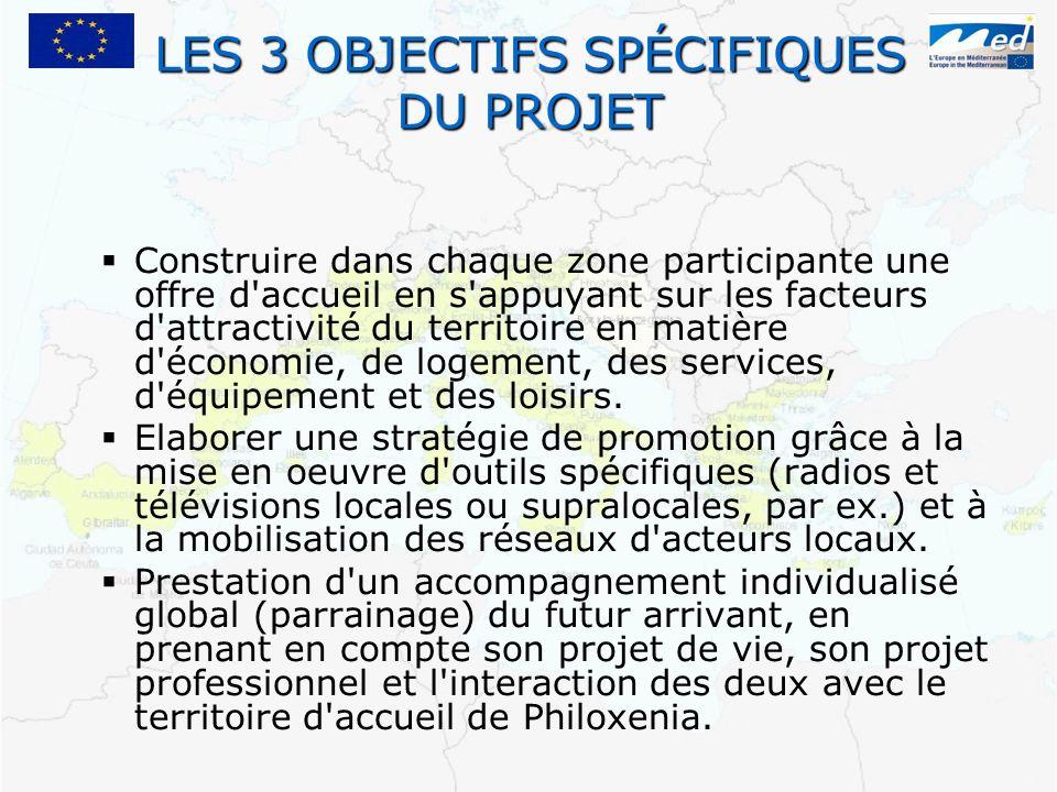 LES 3 OBJECTIFS SPÉCIFIQUES DU PROJET Construire dans chaque zone participante une offre d'accueil en s'appuyant sur les facteurs d'attractivité du te