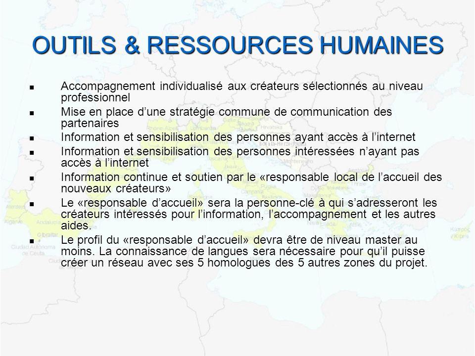 OUTILS & RESSOURCES HUMAINES Accompagnement individualisé aux créateurs sélectionnés au niveau professionnel Accompagnement individualisé aux créateur