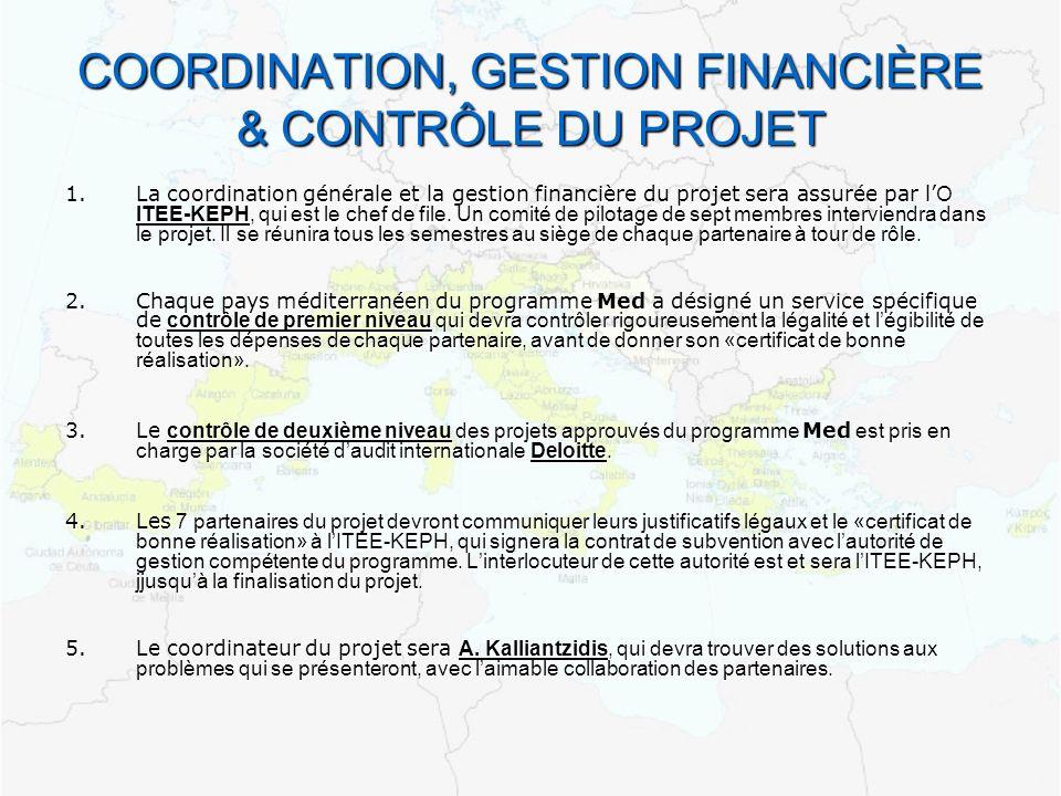 COORDINATION, GESTION FINANCIÈRE & CONTRÔLE DU PROJET 1.La coordination générale et la gestion financière du projet sera assurée par l Ο ITEE-KEPHqui