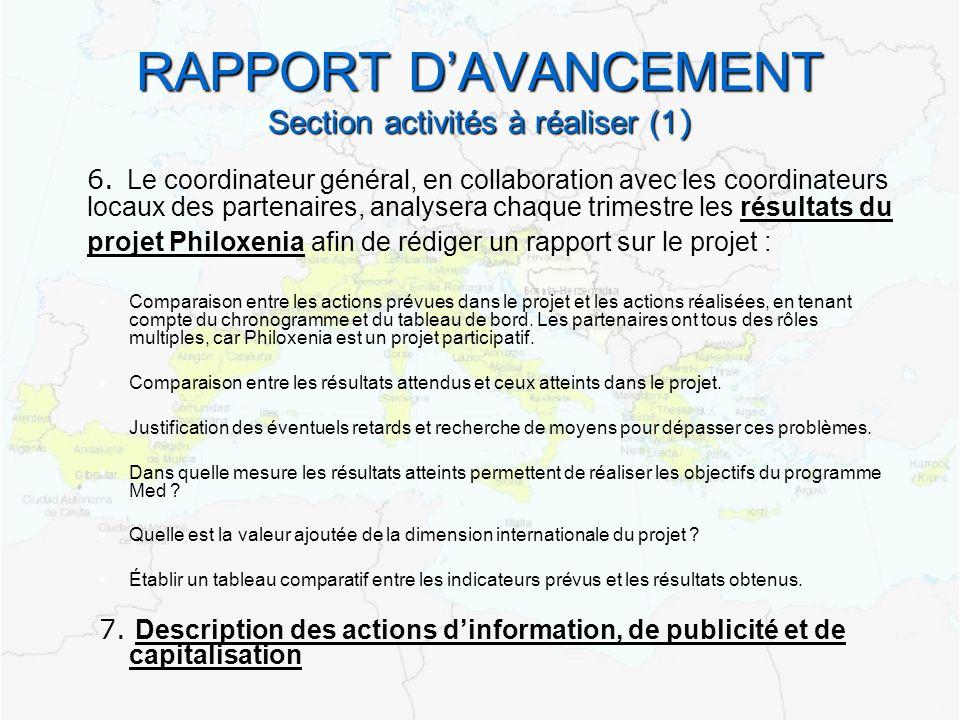 RAPPORT DAVANCEMENT Section activités à réaliser (1 ) 6. Le coordinateur général, en collaboration avec les coordinateurs locaux des partenaires, anal