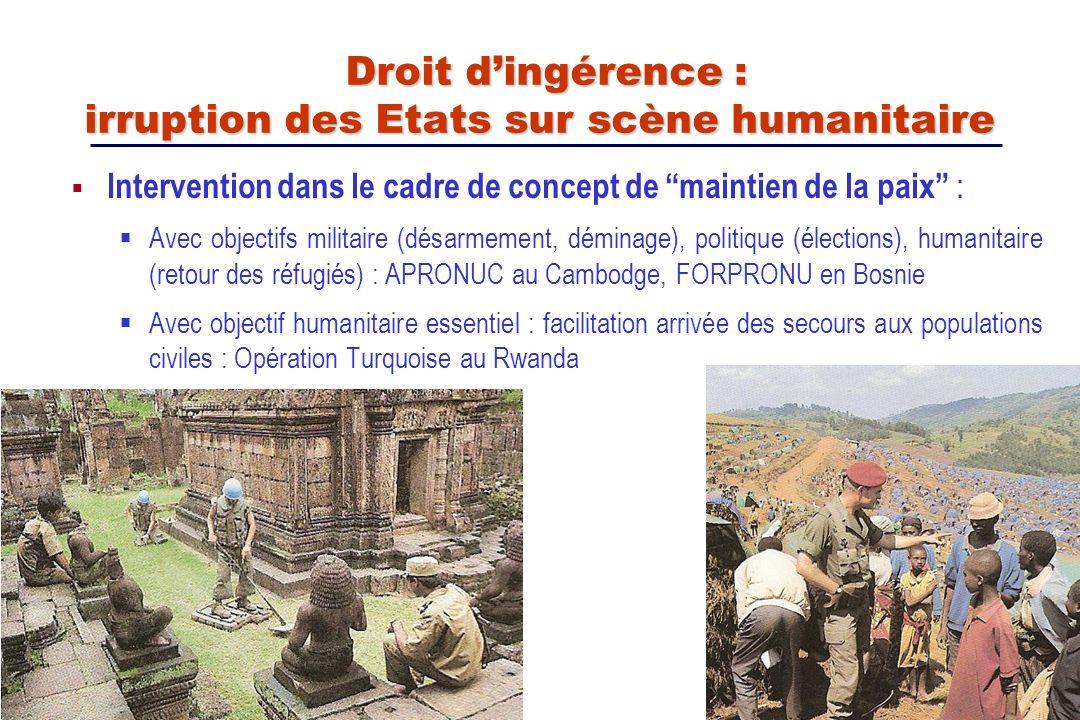 Intervention dans le cadre de concept de maintien de la paix : Avec objectifs militaire (désarmement, déminage), politique (élections), humanitaire (r
