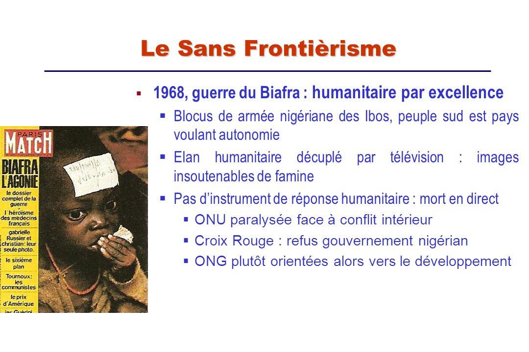 1968, guerre du Biafra : humanitaire par excellence Blocus de armée nigériane des Ibos, peuple sud est pays voulant autonomie Elan humanitaire décuplé