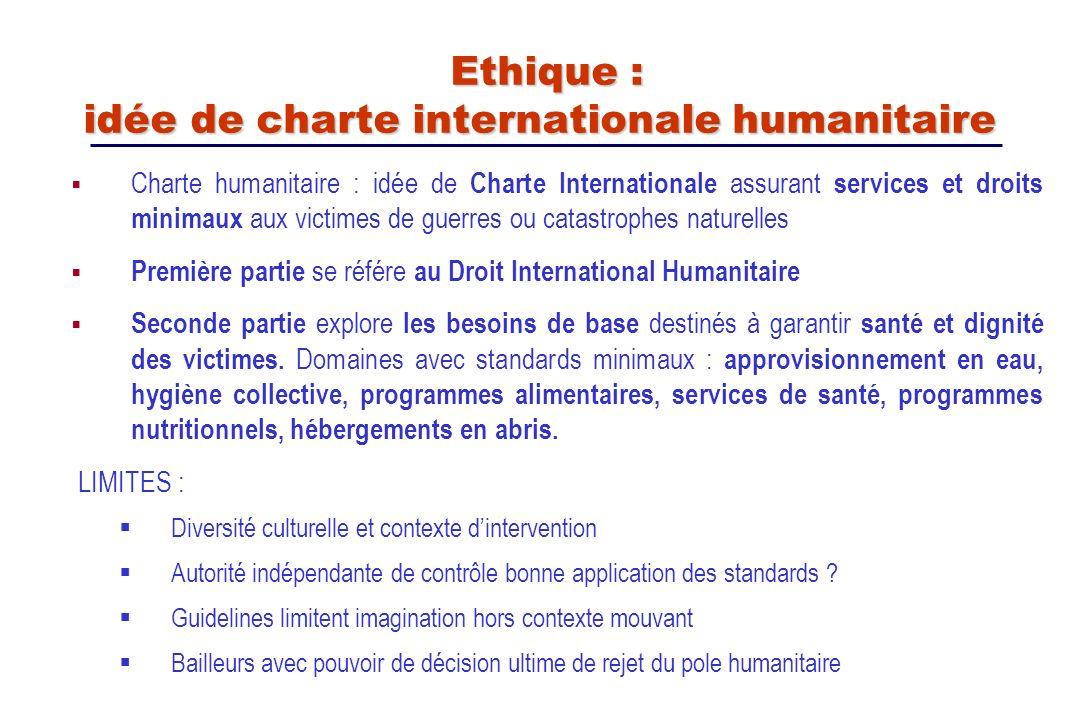 Charte humanitaire : idée de Charte Internationale assurant services et droits minimaux aux victimes de guerres ou catastrophes naturelles Première pa