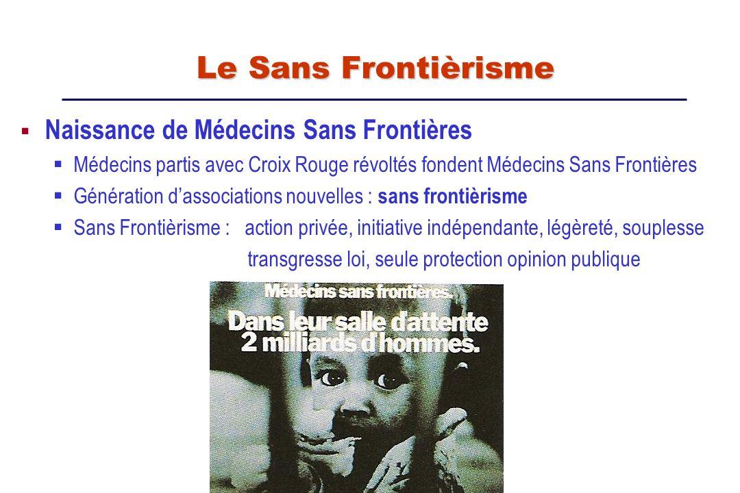 Naissance de Médecins Sans Frontières Médecins partis avec Croix Rouge révoltés fondent Médecins Sans Frontières Génération dassociations nouvelles :