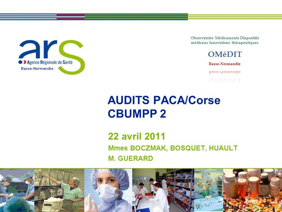 Basse-Normandie AUDITS PACA/Corse CBUMPP 2 22 avril 2011 Mmes BOCZMAK, BOSQUET, HUAULT M. GUERARD