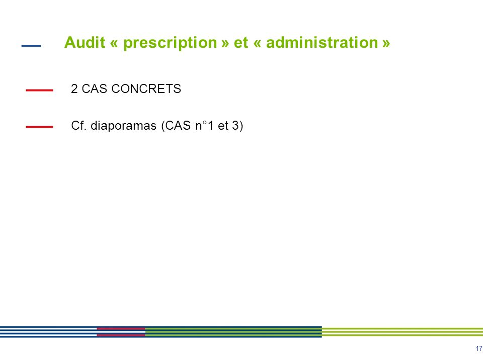 17 2 CAS CONCRETS Cf. diaporamas (CAS n°1 et 3) Audit « prescription » et « administration »