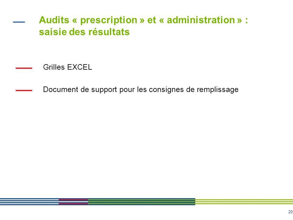 20 Grilles EXCEL Document de support pour les consignes de remplissage Audits « prescription » et « administration » : saisie des résultats