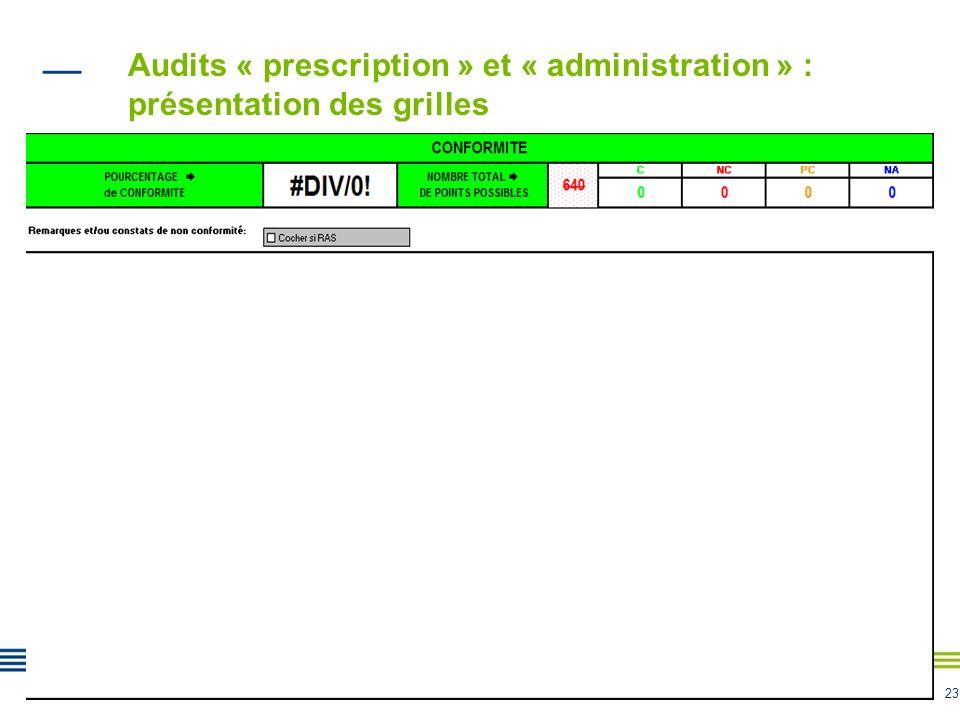 23 Audits « prescription » et « administration » : présentation des grilles