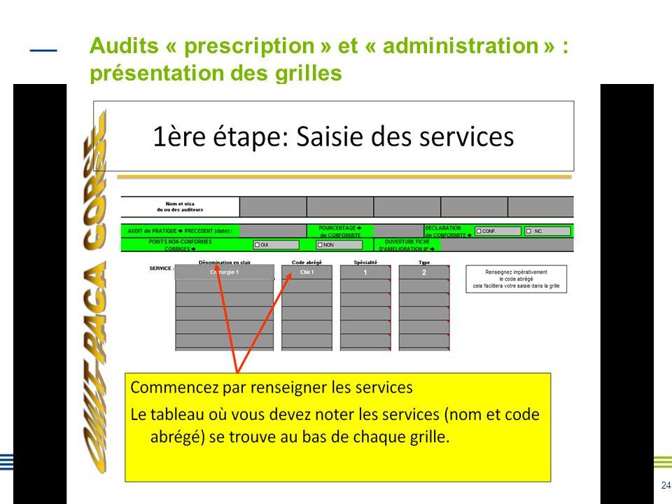 24 Audits « prescription » et « administration » : présentation des grilles