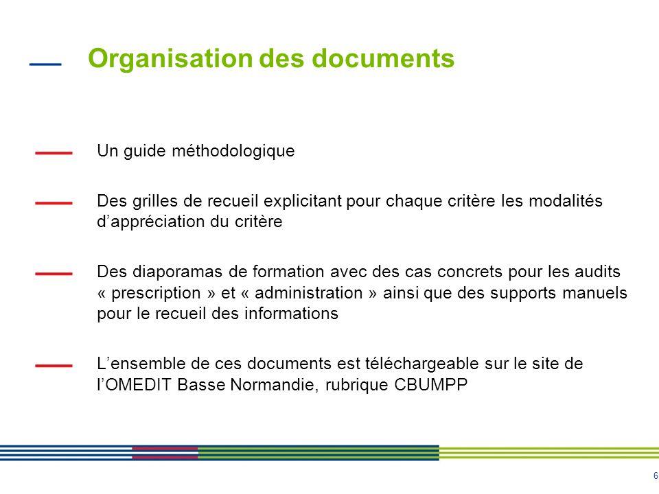 6 Organisation des documents Un guide méthodologique Des grilles de recueil explicitant pour chaque critère les modalités dappréciation du critère Des