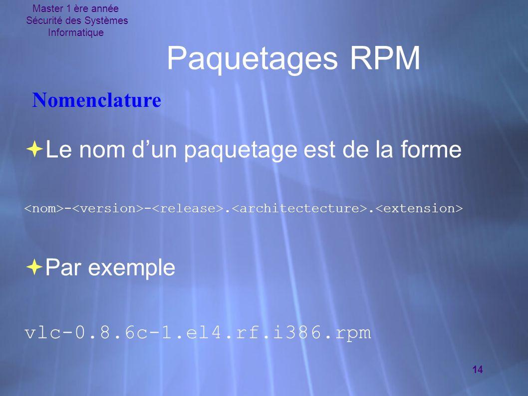 Master 1 ère année Sécurité des Systèmes Informatique 14 Paquetages RPM Le nom dun paquetage est de la forme - -.. Par exemple vlc-0.8.6c-1.el4.rf.i38